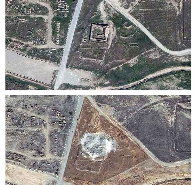 This combination of two satellite images provided by DigitalGlobe, taken on March 31, 2011, top, and Sept. 28, 2014, shows the site of the 1,400-year-old Christian monastery known as St. Elijah's, or Dair Mar Elia, on the outskirts of Mosul, Iraq.  These satellite photos obtained by The Associated Press in January 2016 confirm what church leaders and Middle East preservationists had feared: The monastery has been reduced to a field of rubble, yet another victim of the Islamic State's relentless destruction. (DigitalGlobe via AP)