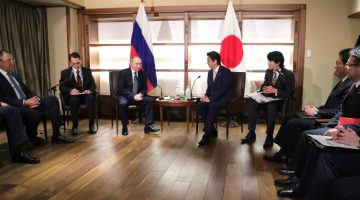 "NAGATO, JAPAN - DECEMBER 15, 2016: Russia's President Vladimir Putin and Japan's Prime Minister Shinzo Abe (L-R in the middle) hold talks at the Otani Sanso hotel in Nagato, Yamaguchi prefecture. Pictured L is Russia's Foreign Minister Sergei Lavrov. Mikhail Klimentyev/Russian Presidential Press and Information Office/TASS  Япония. Нагато. 15 декабря 2016. Министр иностранных дел РФ Сергей Лавров, президент России Владимир Путин и премьер-министр Японии Синдзо Абэ (слева направо) во время встречи в гостинице ""Отани-Сансо"". Михаил Климентьев/пресс-служба президента РФ/ТАСС"