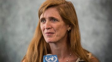 NEW YORK, NY - AUGUST 05:  Samantha Power speaks to members of the media while arriving at the United Nations (UN) for the first time as the United States Ambassador to the UN on August 5, 2013 in New York City. Power was confirmed for the position by Congress on August 1, 2013, with an 87-to-10 vote.  (Photo by Andrew Burton/Getty Images)