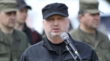 National Security and Defense Council Secretary Oleksandr Turchynov takes part in a ceremony to give the banner to the Rapid Reaction Brigade on the occasion of the first anniversary of the brigade on June 2, 2016.
