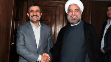 epa03749730 A handout picture made available by the Iranian President Mahmoud Ahmadinejad official website shows president Ahmadinejad (L) greets Iranian president-elect Hassan Rowhani (R) in Tehran, Iran, 18 June 2013. Reformist Hassan Rowhani, 64, has won Iran's presidential election with more than 50 percent of the vote on 15 June.  EPA/PRESIDENTIAL OFFICIAL WEBSITE / HANDOUT  HANDOUT EDITORIAL USE ONLY/NO SALES