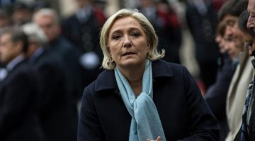April 25, 2017 - Paris, France - French Presidential Election candidate Marine Le Pen attends the National tribute to fallen French Policeman Xavier Jugele on April 25, 2017 in Paris, France. French Police Officer Xavier Jugele, 37, was shot dead by a gunman on Thursday April 20, 2017 on Paris's Champs Elysees, a few days' prior to the French Presidential elections. (Credit Image: В© Julien Mattia/NurPhoto via ZUMA Press)
