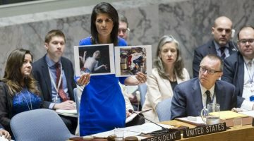 The Security Council met to discuss the alleged use of chemical weapons in an airstrike on 4 April in the Khan Shaykhun area of southern Idlib, Syria. Nikki Haley (centre), United States Permanent Representative to the UN and President of the Security Council for April, addresses the meeting. 05 April 2017 United Nations, New York //SIPA_1007.004/Credit:UN Photo/Rick Bajornas/SIPA/1704061015 (Newscom TagID: sfphotostwo758923.jpg) [Photo via Newscom]