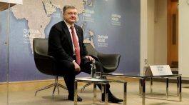 April 19, 2017 - London, United Kingdom - Ukrainian president Petro Poroshenko at Chatham House in London, where he gave a speech about his country's response to Russian aggression and occupation of part of its territory. (Credit Image: © Dominic Dudley/Pacific Press via ZUMA Wire)