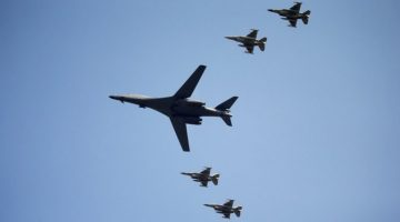 A U.S. Air Force B-1B bomber flies over Osan Air Base in Pyeongtaek, South Korea, September 13, 2016.  REUTERS/Kim Hong-Ji     TPX IMAGES OF THE DAY      - RTSNGCM