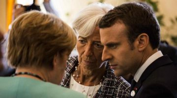 May 27, 2017 - Taormina, Sicily, Italy - French Prime Minister Emmanuel Macron (R), head of the International Monetary Fund (IMF) Christine Lagarde (C) and German Chancellor Angela Merkel talk during the G7 Summit expanded session in Taormina, Sicily, on May 27, 2017. (Credit Image: © Christian Minelli/NurPhoto via ZUMA Press)