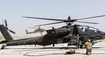 May 31, 2017 - Kunduz, Afghanistan - U.S. Army AH-64E Apache attack helicopters assigned to Task Force Griffin, 16th Combat Aviation Brigade, reloads weapons and fuel before departing on a mission in support of Operation Resolute Support May 31, 2017 in Kunduz, Afghanistan. Kunduz has seen increased Taliban activity as more than 8,000 American troops and 6,000 from NATO and allied countries continue to assist the government. (Credit Image: В© Brian Harris/Planet Pix via ZUMA Wire)