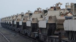 US army M1 Abrams tanks are seen at the Mihail Kogalniceanu Air Base,  Romania, February 14, 2017. Inquam Photos/Octav Ganea/via REUTERS ATTENTION EDITORS - THIS IMAGE WAS PROVIDED BY A THIRD PARTY. EDITORIAL USE ONLY. ROMANIA OUT. NO COMMERCIAL OR EDITORIAL SALES IN ROMANIA - RTSYKAH