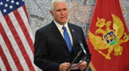 U.S Vice President Mike Pence,  adresses media during a press conference in Villa Gorica in Podgorica, Montenegro on Wednesday, Aug. 2, 2017.  Pence is attending the Adriatic Charter Summit in NATO's newest member - Montenegro, on Wednesday. (AP Photo/Risto Bozovic)