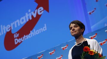 Frauke Petry, chairwoman of the anti-immigration party Alternative for Germany (AfD), holds flowers at the end of the second day of the AfD congress in Stuttgart, Germany, May 1,  2016. REUTERS/Wolfgang Rattay