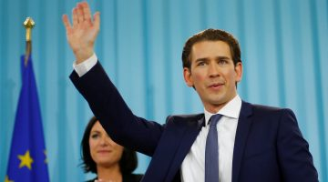 Top candidate of the People's Party (OeVP) Sebastian Kurz attends his party's victory celebration meeting in Vienna, Austria, October 15, 2017. REUTERS/Dominic Ebenbichler     TPX IMAGES OF THE DAY