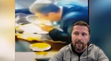 Человек, похожий на Геращенко, и тарелка
