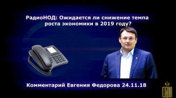 РадиоНОД: Ожидается ли снижение темпа роста экономики в 2019 году? Евгений Федоров 24.11.18